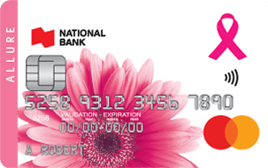 Smiling woman wearing a sweater with pink ribbon Allure Mastercard credit card