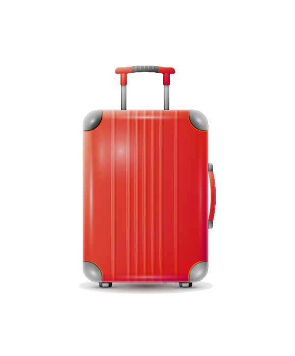Red suitcase on wheels