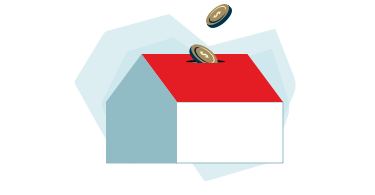 Illustration of a house-shaped piggy bank with a coin being inserted