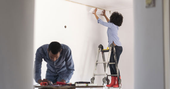 Couple doing home renovations
