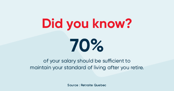 Infographic: Did you know? 70% of your salary should be sufficient to maintain your standard of living after you retire.