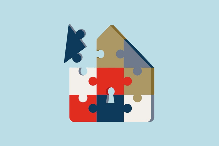 Illustration of a house puzzle