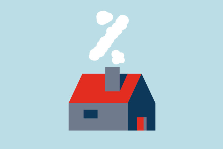 Illustration of a house with a chimney and smoke making a percent sign