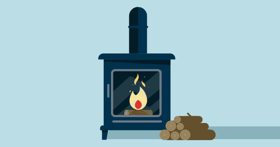 Fire in wood burning stove